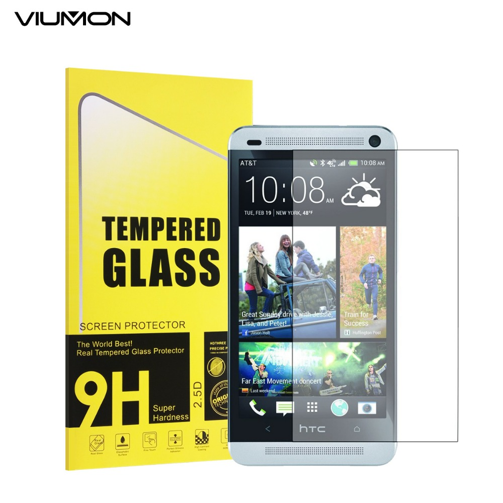 VIUMON M7 Front LCD Explosion-proof Tempered Glass Film for HTC One M7 ONE DUAL SIM Screen Protector with Retail Package