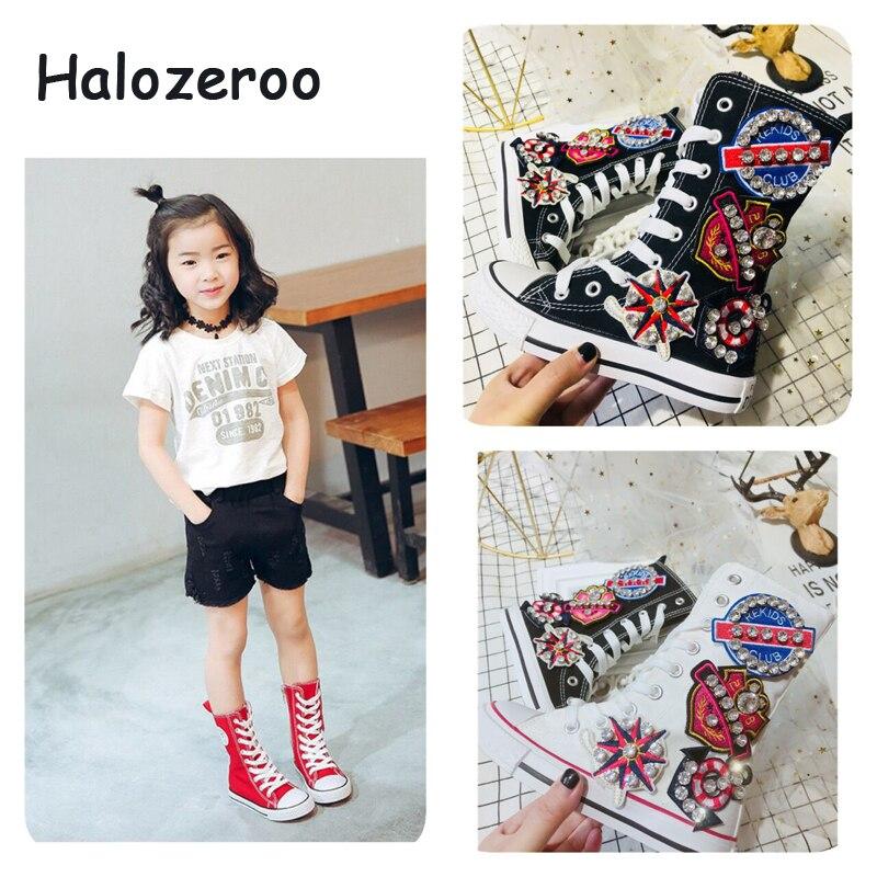 2019 automne nouveaux enfants strass Sport baskets enfants haut chaussures décontractées bébé filles noir toile chaussures marque chaussures formateur