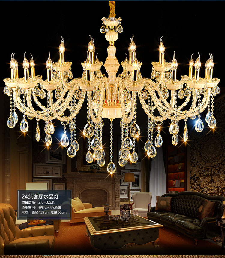 Luxury European crystal Chandelier Champagne color Living Room Bedroom Restaurant LED Chandelier lamp luminaria pendente modern crystal chandelier led hanging lighting european style glass chandeliers light for living dining room restaurant decor