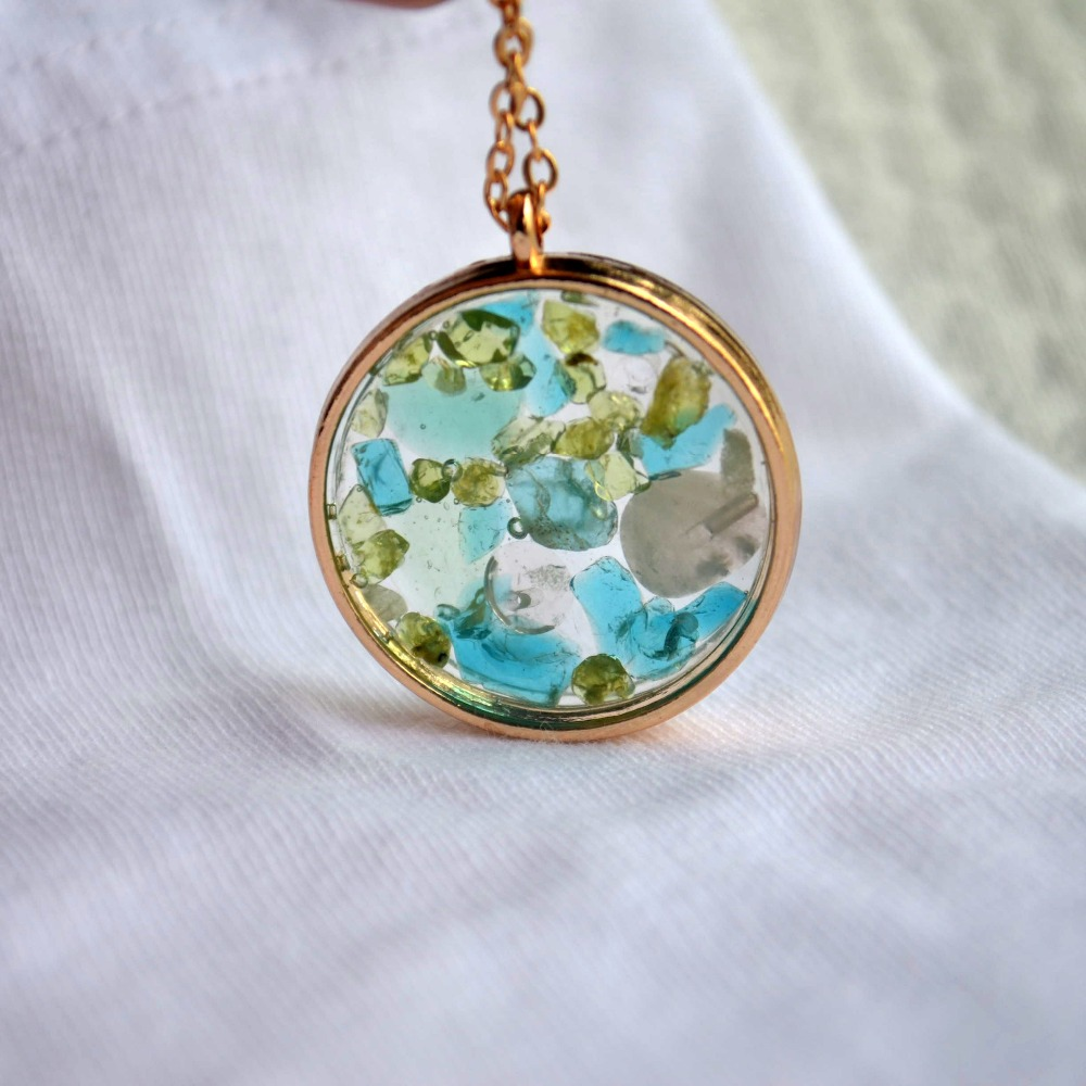 Cell Green Blue Crystal Transparent Big Resin Circle Gold Color Pendant Chain Long Necklace Women Boho Fashion Jewelry Bohemian in Pendant Necklaces from Jewelry Accessories