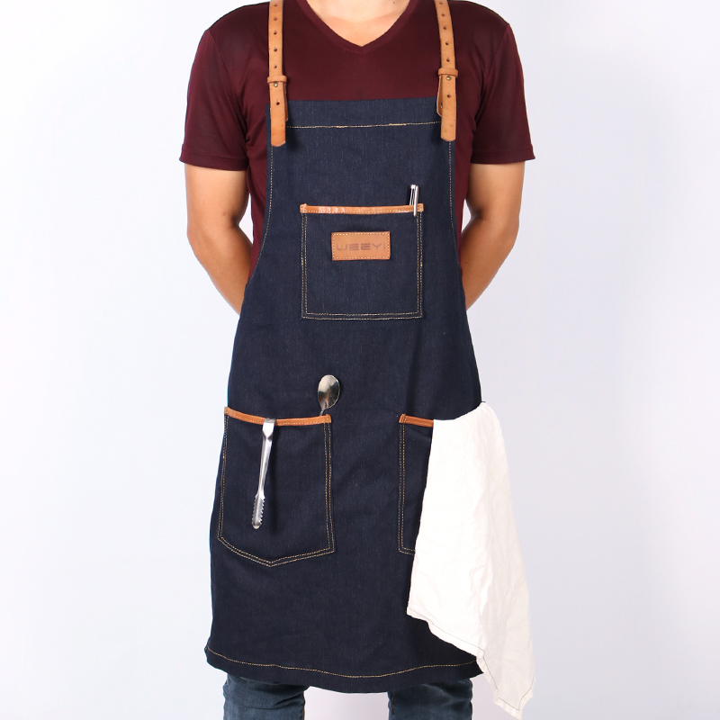 WEEYI Handmade Chic Black Blue Denim Shop Work Apron with Removable Genuine Leather Y Back Strap 3 Big Tool Pockets Utility
