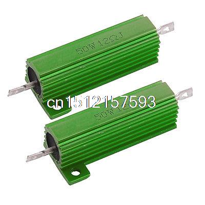 2x 12 Ohm Screw Tap Mounted Aluminum Housed Wirewound Resistors 50W