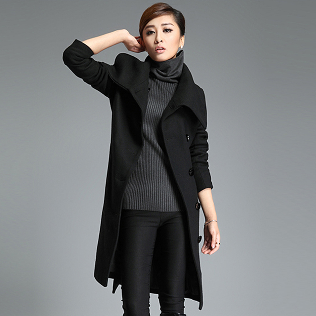 Yuoo Muoo – New High Quality Long Grey Cashmere Wool Coat – Plus Sizes