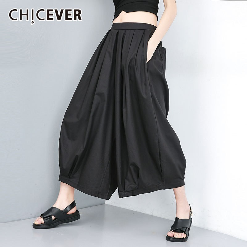 CHICEVER Summer Casual Solid Black Women   Pant   Elastic Waist Pockets Loose Plus Size Ankle Length Female   Wide     Leg     Pants   2019 New