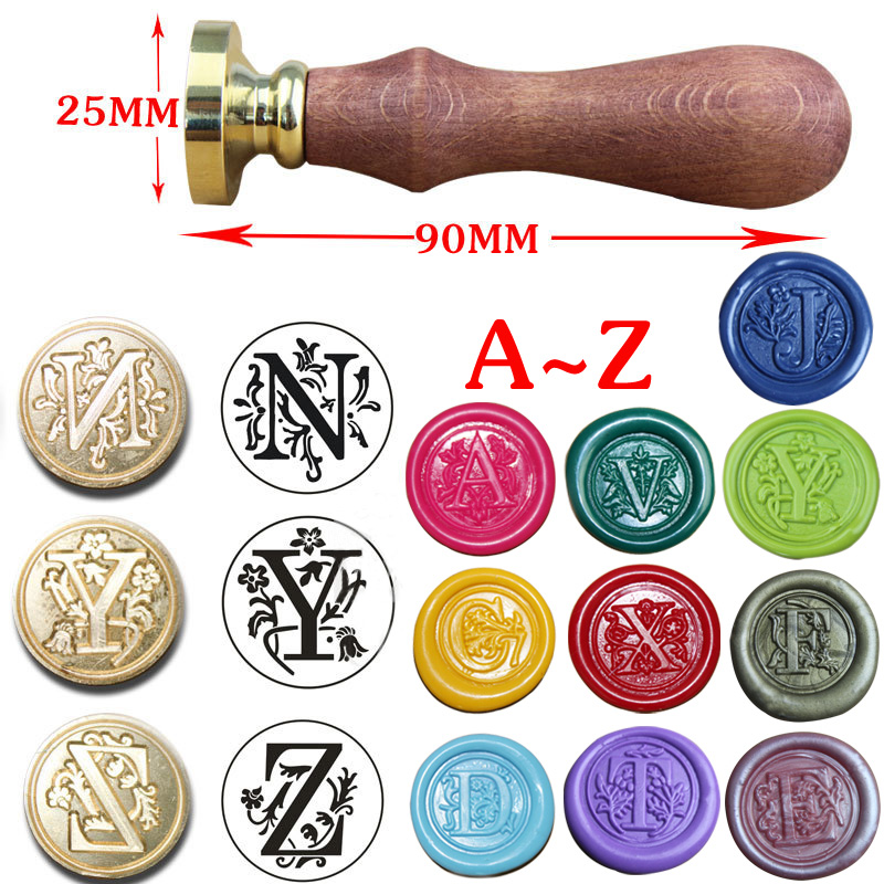 1pc Alphabet 26 Hot Sealing Wax Classic Vintage Wax Seal Stamp Letter A-Z Retro Wood DIY Stamps with Wooden Handle mdlg vintage alphabet letter z crown wedding invitations gift cards wax seal stamp stationary sealing wax stamp wood handel set