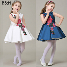B&N Embroidery Sleeveless Floral Dresses Cute Girl Party Dress Summer Princess Children Dress Boutique Infant Dresses(China)