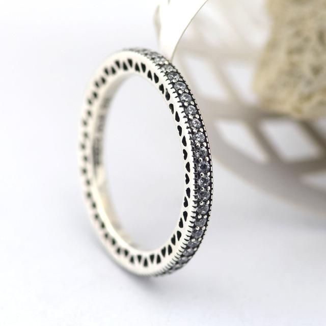 100% Sterling Silver Original Corações Anéis Com Pedras Da CZ Moda Jóias de Prata Charme Para As Mulheres Por Atacado