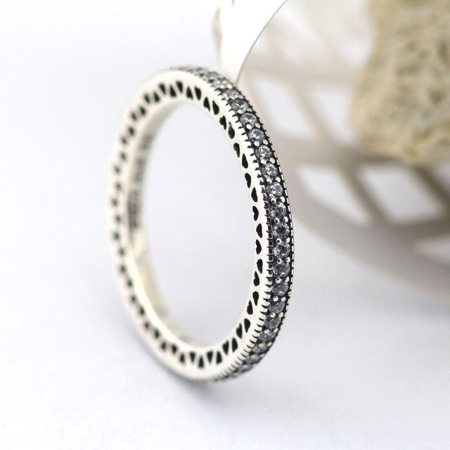 100% Sterling Silver  Original Rings Hearts With CZ Stones Fashion Silver Jewelry Charm For Women Wholesale