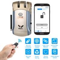 WAFU WF 008 Remote control/ Inside touch unlock Keyless Smart Lock Deadbolt with Built In Alarm Hot sales