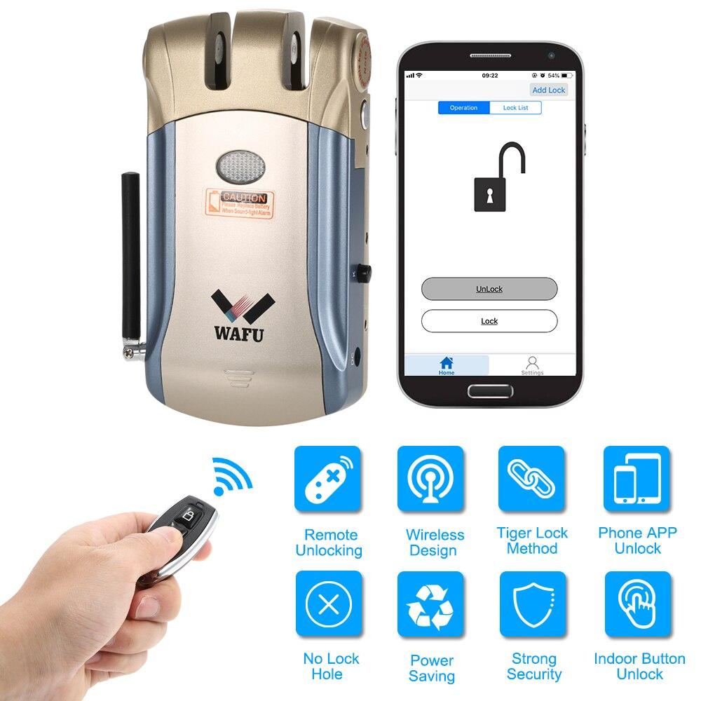 WAFU WF-008 télécommande/À L'intérieur tactile déverrouiller Sans Clé Intelligente Serrure À Pêne Dormant avec Alarme Intégrée ventes Chaudes