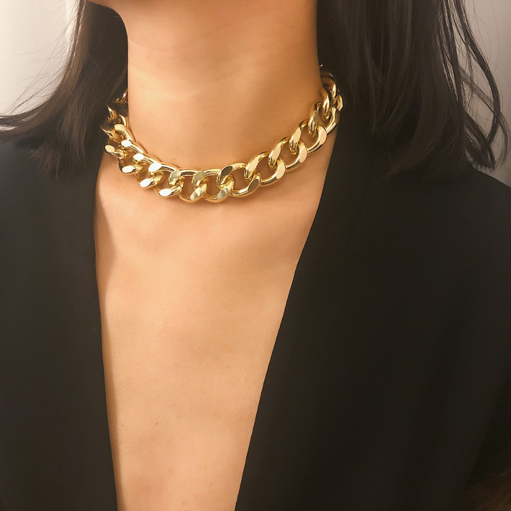 SHIXIN Punk Exaggerated Heavy Metal Big Thick Chain Choker Necklace Women Goth Fashion Night Club Jewelry Female Chocker Collier 1