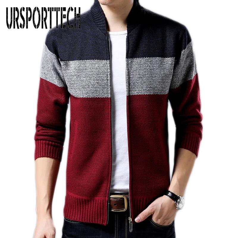 2018 Winter Cardigan Sweater Men's Baseball Collar Zipper Plus Velvet Thick Warm Stripes Inside The Lattice Design Size 3XL