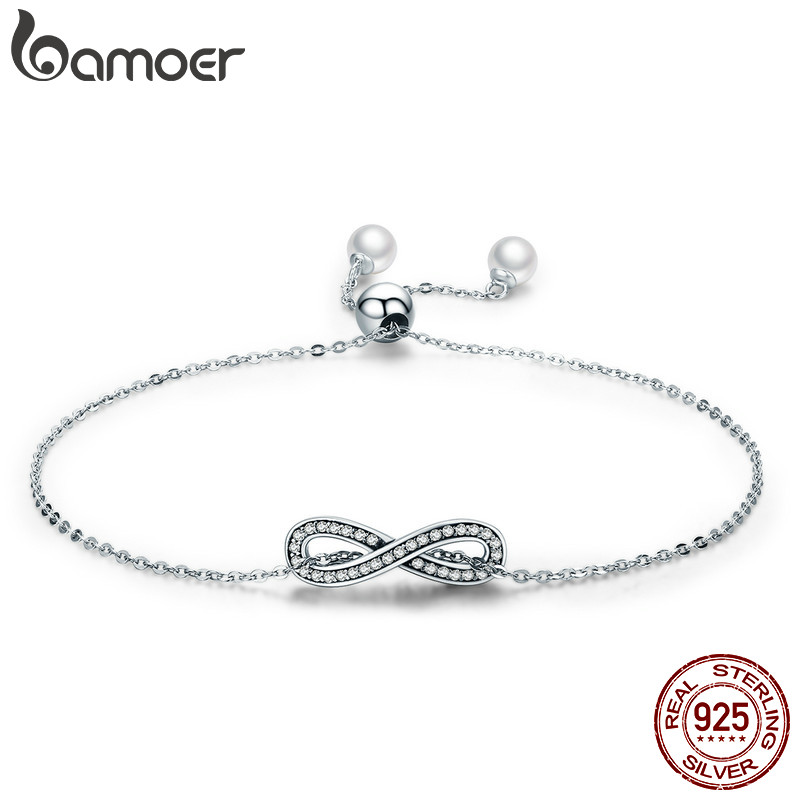 BAMOER Real 100% 925 Sterling Silver Infinity Love Chain Link Women Bracelet Sterling Silver Jewelry Valentine Day Gift SCB056 bamoer real 100