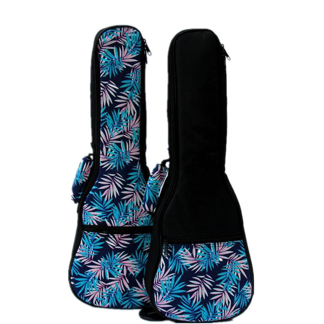 Vintage 21 23 24 26 inch soprano concert tenor ukulele soft bag blue leaves case gig padded pattern creative gifts kids girl boy