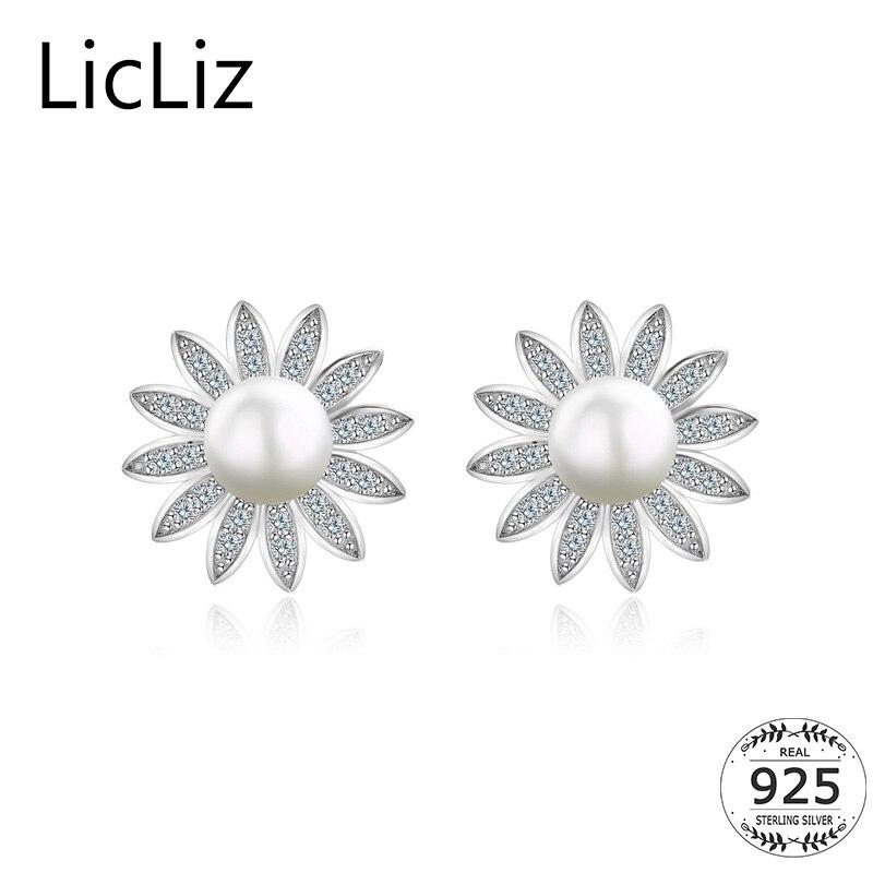 Freshwater Pearl Stud Earrings Womens Cubic Zirconia 925 Sterling Silver Pearl Gift for Women