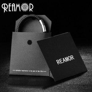 Image 5 - Мужской винтажный браслет REAMOR, серый плетеный браслет из натуральной кожи черного цвета, браслеты манжеты из нержавеющей стали, мужские украшения в подарок