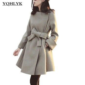 Herbst Winter Frauen Dünne Woolen Mantel Mode Koreanische Frauen