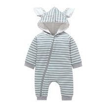 Infant Baby Girls Boys Full Striped Cartoon Rabbit Ear Zipper Hooded Cotton Romper Outfits New Born Baby Girl Clothes 2018(China)