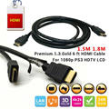 10pcs 1.3V Gold plated Premium 1.8M 6ft HDMI Cable kabel male to male M/M cabo HDMI adapter for 1080p PS3 HDTV LCD