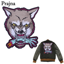 Prajna Wolf Head Large Embroidered Biker Patches Motorcycle Iron On Patches For Clothes Jeans Vest Jacket Back Punk Patch D