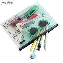 цена на 1Pcs/lot New Korea PVC Ticket Storage Bag Pencil Bag Large Glasses Pencil Case chancery penalty