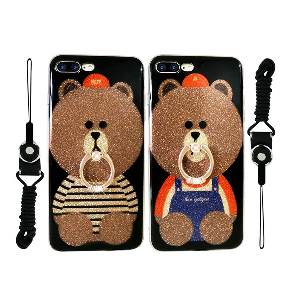 Для Apple iPhone 6 6 S Plus 5.5 дюйма чехол силиконовый мягкая TPU прекрасной медведь картина Телефонные Чехлы + кольцо пряжки