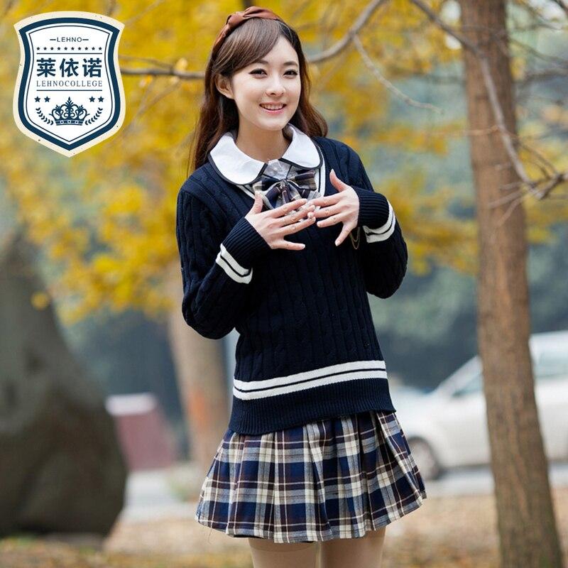 Mode coréenne Version printemps et automne école uniforme marin pull costume