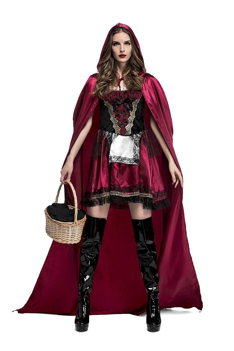 Adult Ladies Short Little Red Riding Hood Cape /& Hood Cloak Fancy Dress