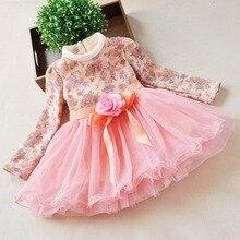 free ship kids winter dresses for girls 2015 fleece princess dress girl long sleeve vestidos party floral print dress fancy