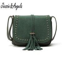 Jiessie Angela New Women Tassel Messenger Bags Vintage Leather Handbag Famous Brand Women Fashion Bag Crossbody