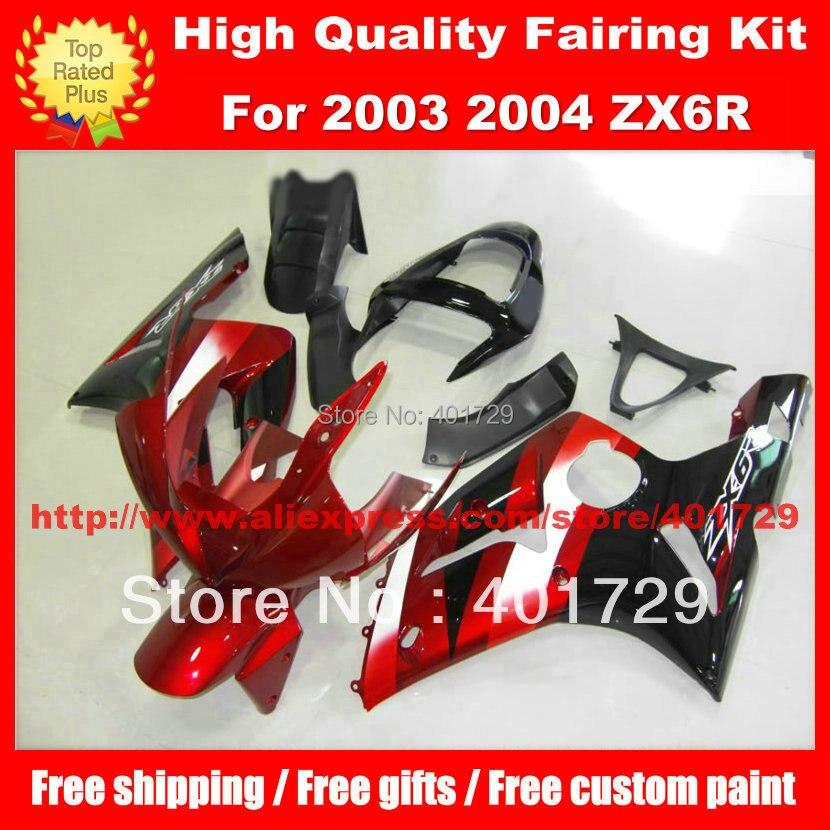 Wine red black bodywork set for Kawasaki ZX-6R ZX6R 2003 2004 03 04 free custom paint motorcycle body work