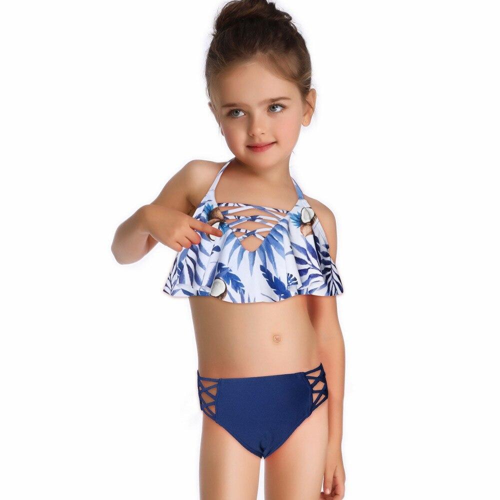 Girls Swimwear  Two Piece Swimsuit Bikini Set High Waist Bathing Suit