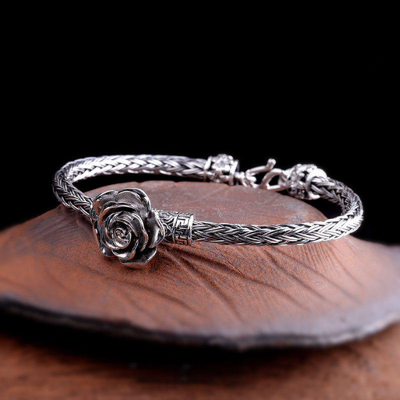 Genuine Solid 925 Thai Silver Barided Bracelet Bangles For Women Rose Flowers Vintage Punk Fine Jewelry