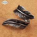 Vintage feather stainless steel  men and women personality ring punk fashion  finger open ring
