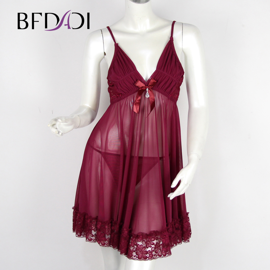 Mesh Sexy Nightgown Women Sleepwear Dress Fashion Female -7372