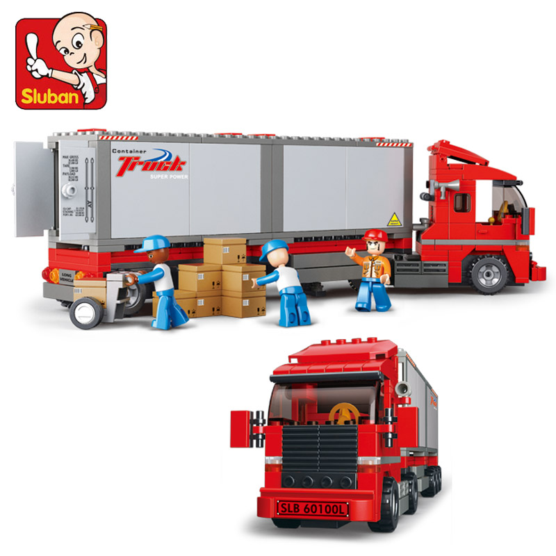 B0338 SLUBAN City Cargo Truck Container Car Model Building Blocks Classic Enlighten Figure Toys For Children Compatible Legoe 1700 sluban city police speed ship patrol boat model building blocks enlighten action figure toys for children compatible legoe