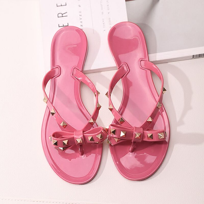 18982f0da6ce3b 2018 Hot Selling Summer Fashion Nude Pink Black Patent Leather Rivets  Bowties Flip Flop Cute Sandals Women Beach Shoes-in Women s Sandals from  Shoes on ...