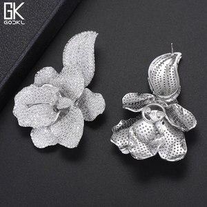 Image 2 - GODKI 66mm Trendy Luxury Rose Flower Nigerian Long Dangle Earrings For Women Wedding Zirconia CZ Dubai Dubai Silver Earrings