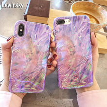 For iphone 7 8 6 s Plus Phone Case Fashion Purple Smooth Color Brilliant Marble X Soft Laser IMD Back Cover