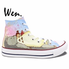 Wen Hand Painted Shoes Design Custom My Neighbor Totoro Women Men's High Top Anime Canvas Shoes for Presents