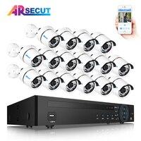 ARSECUT 16CH 1080 P POE NVR комплект безопасности IP Водонепроницаемый Камера s Пуля Открытый HD видео Камеры Скрытого видеонаблюдения Системы комплект 6