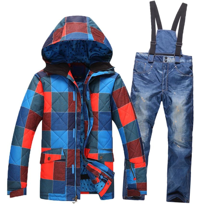 Men's Waterproof Ski Jacket Snowboard Pants + Jacket Snowboarding Jacket Snow Pants Men Ski Jackets Outdoor Skiing Suit hfx