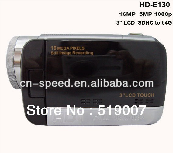 FHD 1080P digital video camera 3.0inch TFT LCD, Max 16MP,SDHC card up to 64GB, 16x Digital Zoom,Free shipping