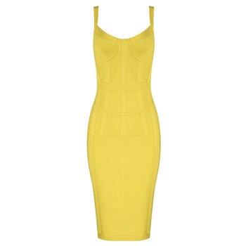 Free Shipping Plus Size XL Sexy Sleeveless V Neck GreenYellow Bandage Dress 2020 Designer Fashion Party Dress Vestido 3
