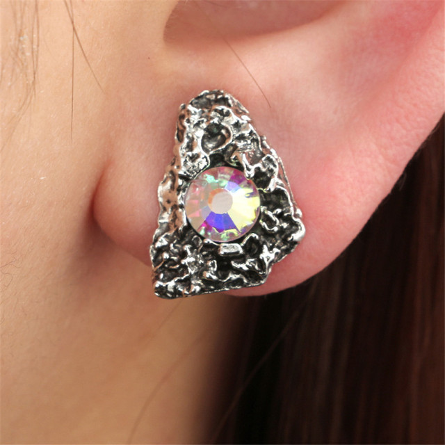 d315ef637 vintage geometry triangle Small gravel women stud earrings personality  colourful crystal stud earrings charm female Jewelry