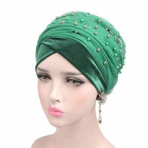 Image 4 - New Luxury Women scarf Hijab Hats Velvet Gold Beaded Decorate Long Head Scarf Headscarf Turban Caps Indian Caps Wrap Cap
