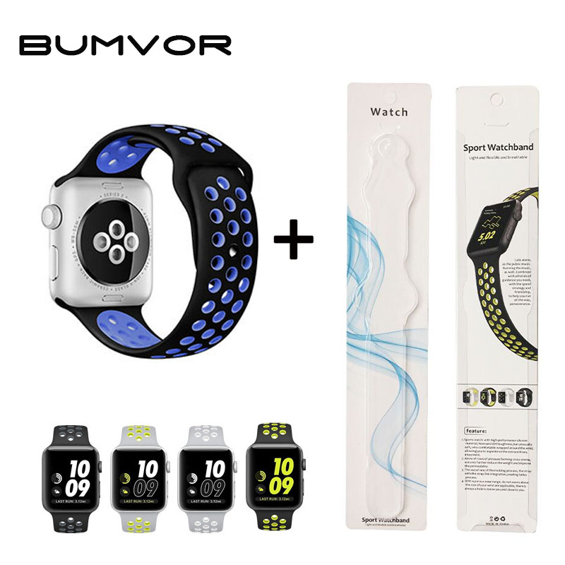 BUMVOR Sport Silicone Band Strap For Apple Watch 42mm 38mm Bracelet Wrist Band Watch Watchband For Iwatch 3/2/1 +Box joyozy sport silicone band strap for apple watch nike 42mm 38mm bracelet wrist band protector watch watchband for iwatch 3 2 1