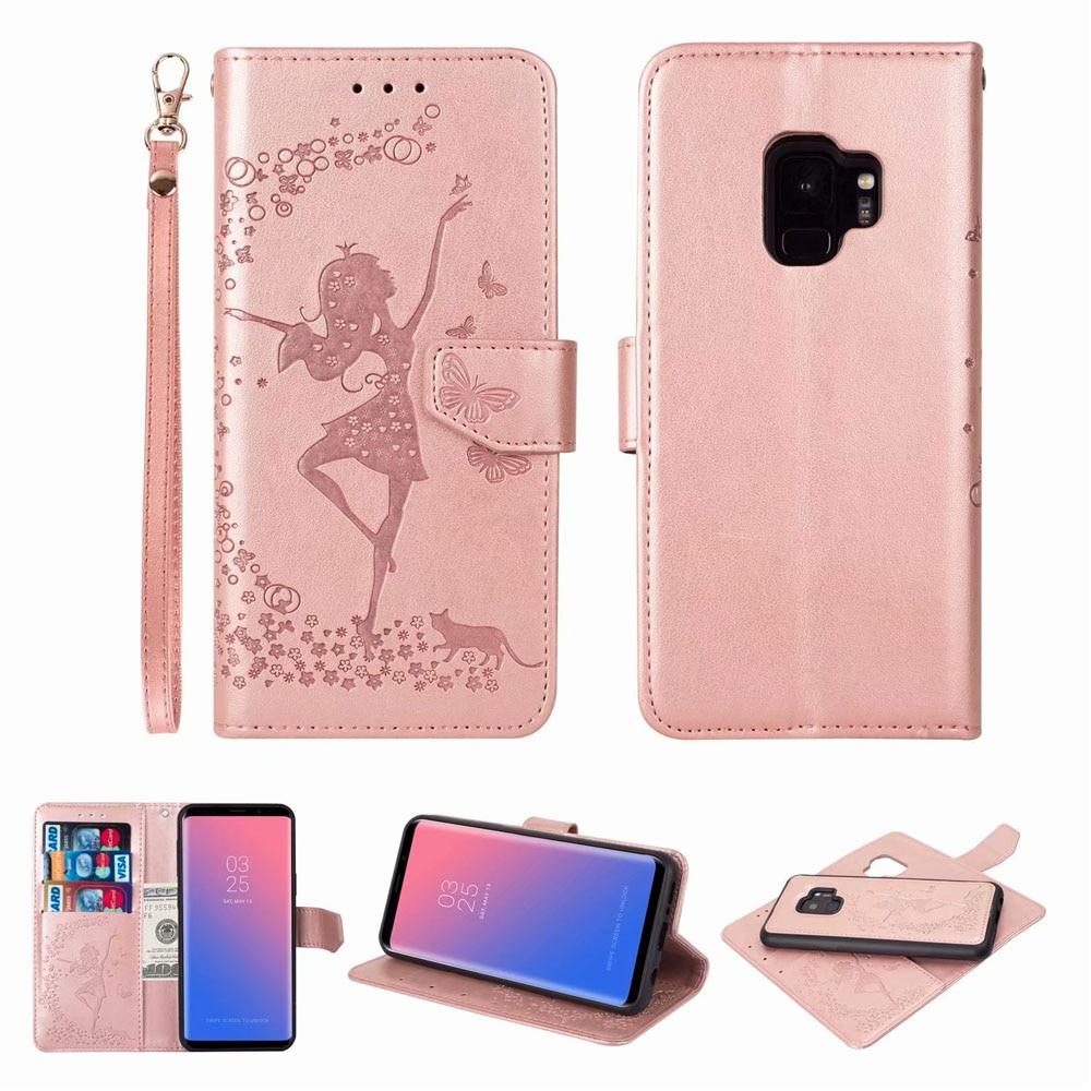 Для samsung Galaxy S9/S9 плюс флип чехол для девочек Съемная 2in1 PU кожаный бумажник Магнитный кошелек сумка ТПУ силиконовая задняя крышка