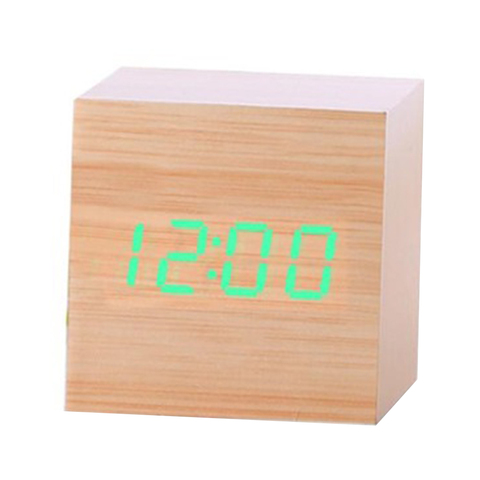 Multicolor Sound Control Wooden Wood Square LED Alarm Clock Desktop Table Digital Thermometer Wood USB/AAA Date Display Clocks Islamabad