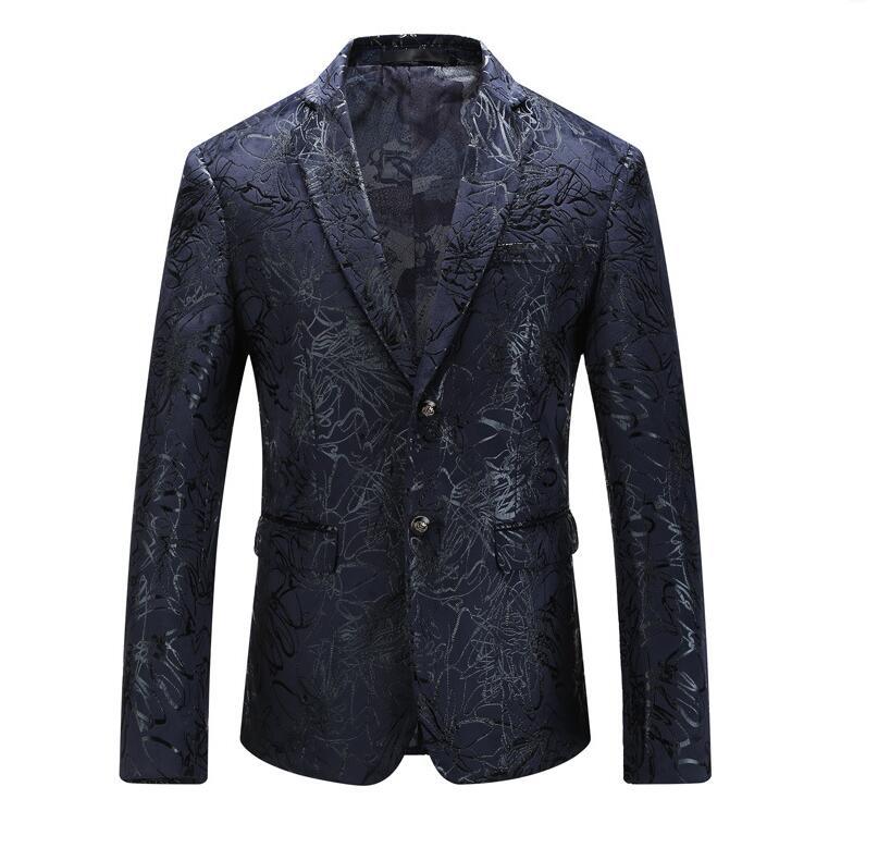 Férfi Sequin Blazer 2018 Stílusos Férfi Paisley Suit Slim Fit kék - Férfi ruházat